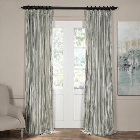 Replay Metal Grey and Black Silk Stripe Curtain
