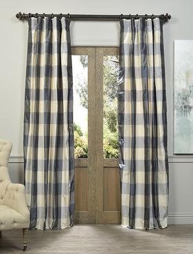 Devon Plaid Designer Silk Curtain