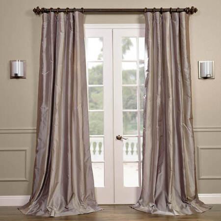 Brighton Grey Silk Stripe Curtain