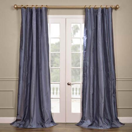 Brighton Blue Silk Stripe Curtain