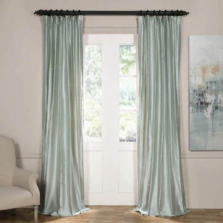Cambridge Silver Aqua Silk Stripe Curtain