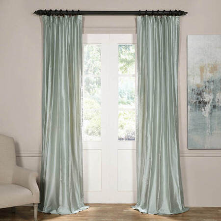 Cambridge Silver Mist Silk Stripe Curtain