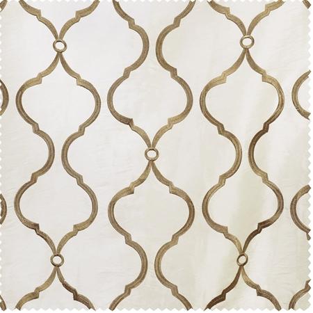 Tunisia Ivory Embroidered Faux Silk Taffeta Swatch