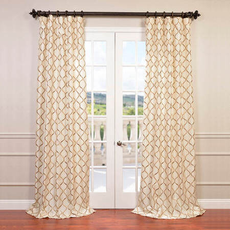 Tunisia Ivory Embroidered Faux Silk Curtain