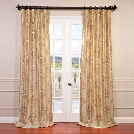 Ankara Champagne Embroidered Faux Silk Curtain