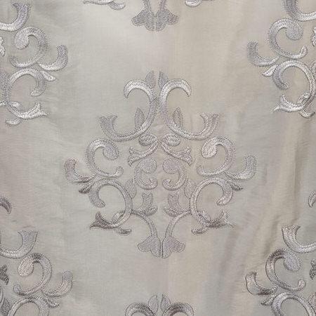 Ankara Silver Embroidered Faux Silk Taffeta Swatch