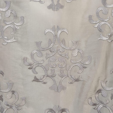 Ankara Silver Embroidered Faux Silk Taffeta Swatch