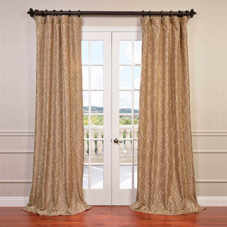 Algeirs Champagne Embroidered Faux Silk Curtain