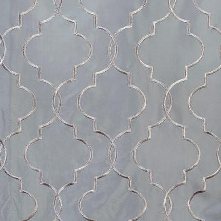 Algeirs Silver Embroidered Faux Silk Taffeta