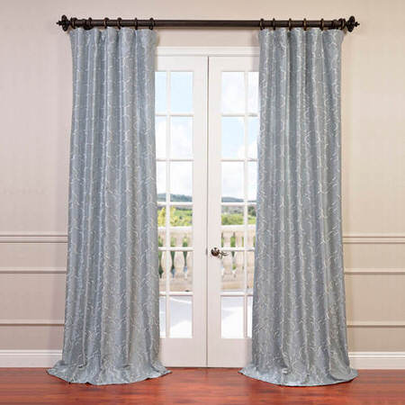 Algeirs Silver Embroidered Faux Silk Curtain