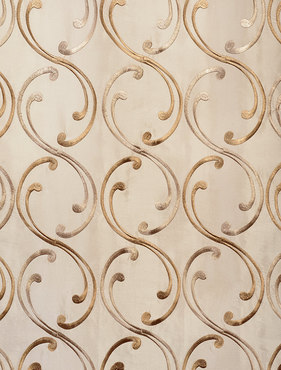 Meandering Vine Embroidered Faux Silk Taffeta Swatch