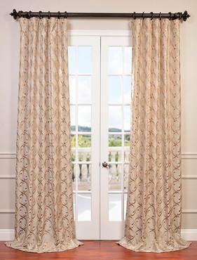 Meandering Vine Embroidered Faux Silk Taffeta Curtain