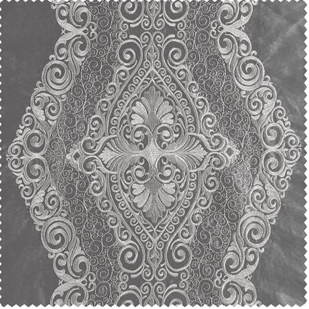 Chai Silver Embroidered Faux Silk Taffeta Swatch