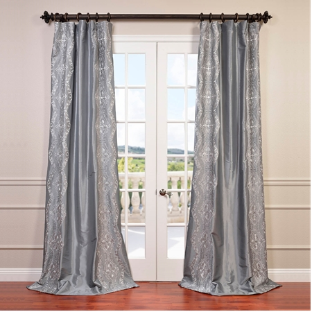Chai Silver Embroidered Faux Silk Taffeta Curtain