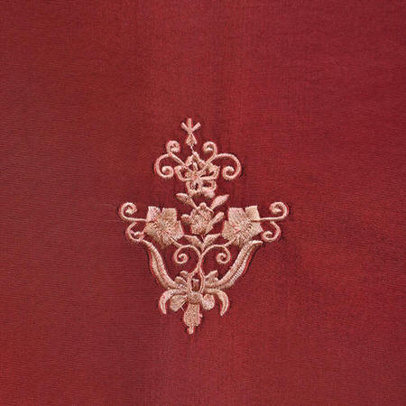 Trophy Syrah Embroidered Faux Silk Taffeta Swatch