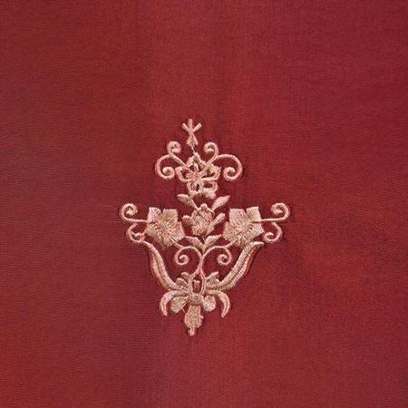 Trophy Syrah Embroidered Faux Silk Taffeta Swatch