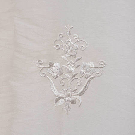 Trophy White Embroidered Faux Silk Taffeta Swatch