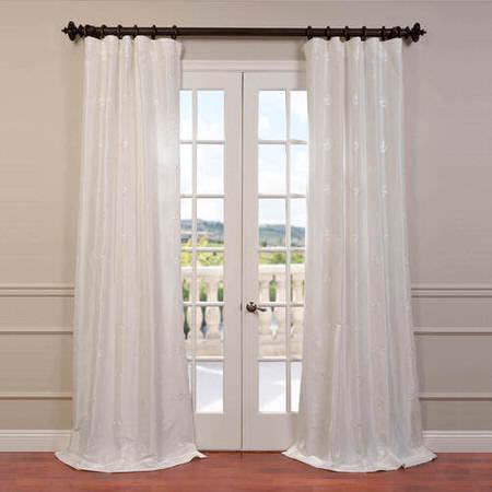 Trophy White Embroidered Faux Silk Taffeta Curtain