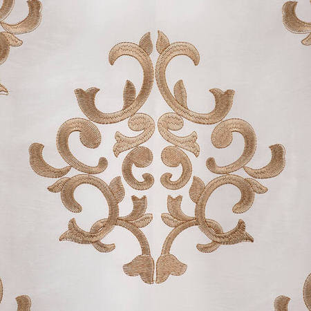 Ankara White Embroidered Faux Silk Taffeta Swatch