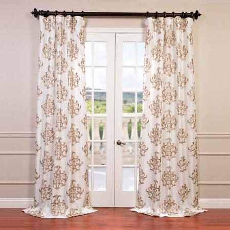 Ankara White Embroidered Faux Silk Taffeta Curtain