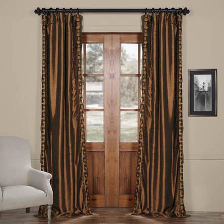 Greco Copper Embroidered Faux Silk Curtain