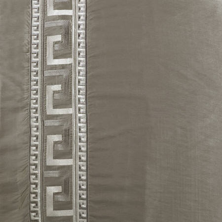 Greco Platinum Embroidered Faux Silk Swatch