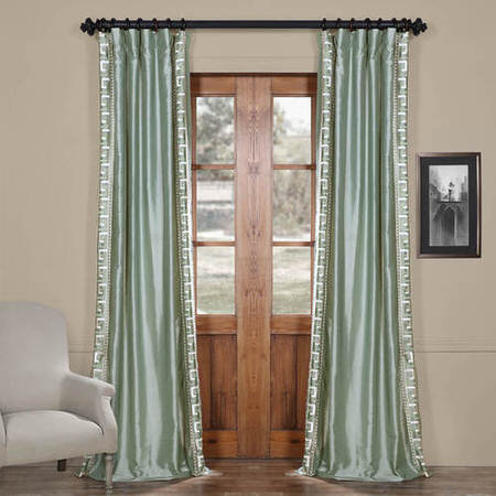 Greco Robins Egg Embroidered Faux Silk Curtain