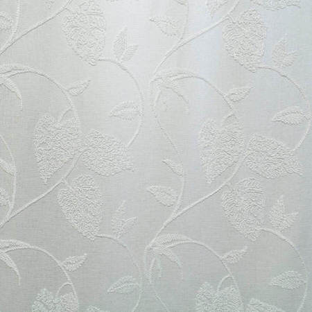 Vine White Embroidered Faux Linen Swatch