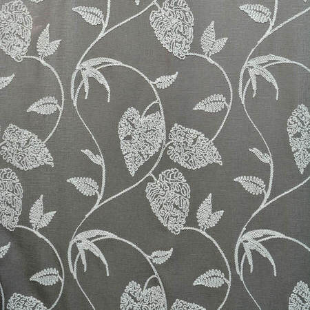 Vine Grey Embroidered Faux Linen Swatch