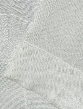 Plume White Embroidered Crewel Faux Linen Swatch