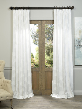 Plume White Embroidered Crewel Faux Linen Curtain