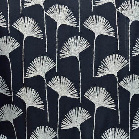 Plume Navy Embroidered Faux Linen Swatch