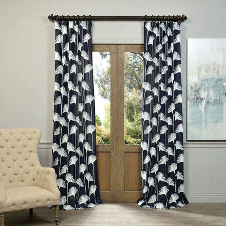 Plume Navy Embroidered Crewel Faux Linen Curtain