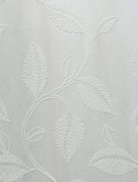 Willow White Embroidered Faux Linen  Swatch