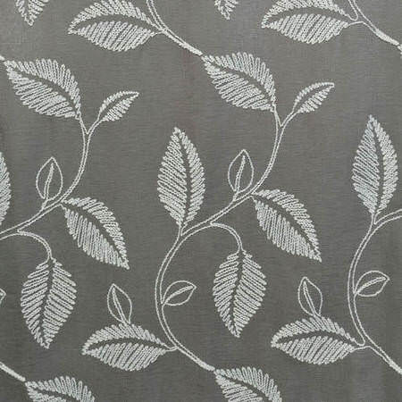 Willow Grey Embroidered Faux Linen Swatch