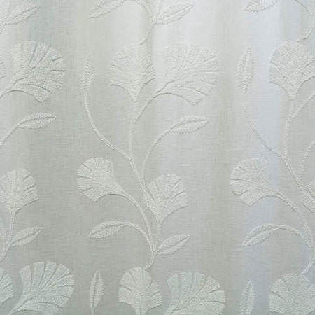 Ginko White Embroidered Faux Linen Swatch