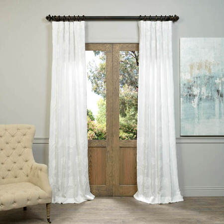 Ginko White Embroidered Crewel Faux Linen Curtain