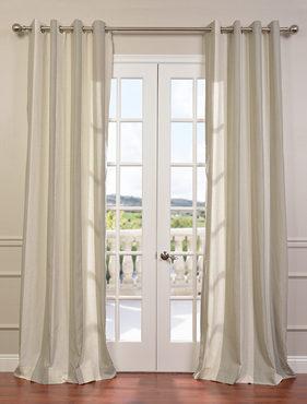 Del Mar Stone Grommet Linen Blend Stripe Curtain