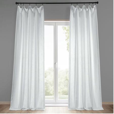 White Heavy Faux Linen Curtain