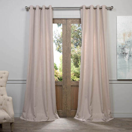 Latte Grommet Heavy Faux Linen Curtain