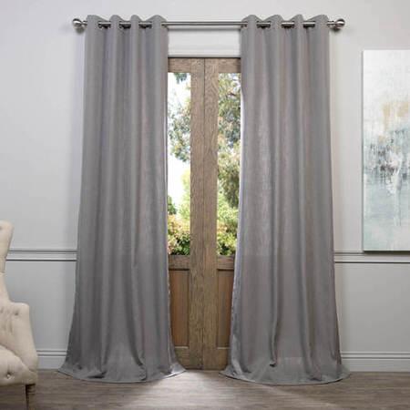Pewter Grey Grommet Heavy Faux Linen Curtain