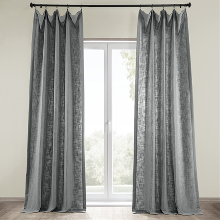 Pewter Grey Heavy Faux Linen Curtain