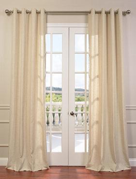 Hilo Natural Grommet Linen Blend Solid Curtain