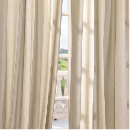 Del Mar Stone Linen Blend Stripe Curtain