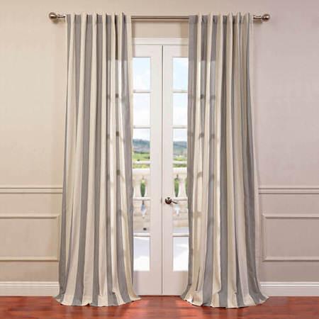Bermuda Gray Linen Blend Stripe Curtain