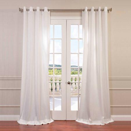 Cloud Faux Linen Grommet Semi Sheer Curtain