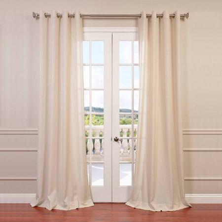 Sand Faux Linen Grommet Semi Sheer Curtain