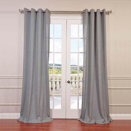 Heather Grey Faux Linen Grommet Semi Sheer Curtain