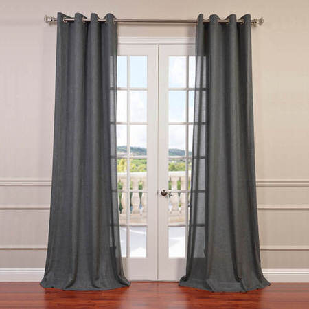 Phantom Grey Faux Linen Grommet Semi Sheer Curtain