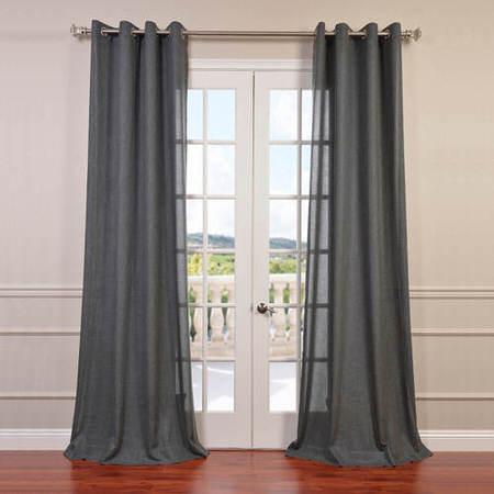 Phantom Grey Faux Linen Grommet Semi Sheer Curtain